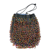 ca. 1920's Rainbow Beaded Reticule With Silk Lining