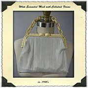 ca. 1930s White Enamel Mesh Purse with Celluloid Frame and Chain
