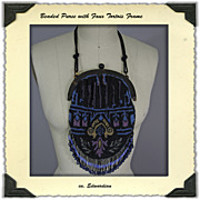 Edwardian Beaded Purse with Faux Tortoise frame