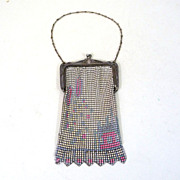 SALE Unsigned 1920's Enameled Mesh Purse