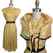 1940s Ellen Kaye Conversational Print Dress