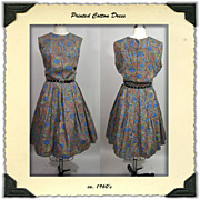 1960's Floral Print Cotton  Dress
