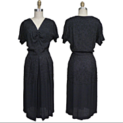 SALE ca. 1940's Marty Cobin Beaded Rayon Crepe Dress