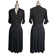 SALE ca. 1940s Nellie Don Black Rayon Dress