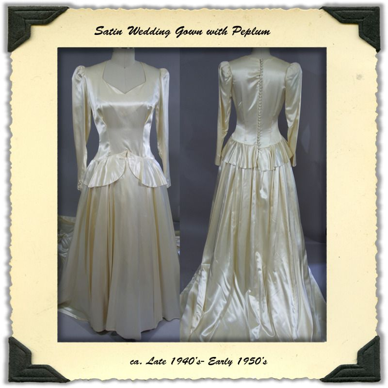 1950's Wedding Dress in Ivory Satin