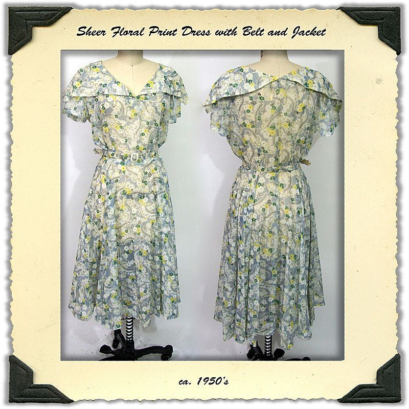 ca. 1950's Sheer Nylon Floral Dress with Jacket