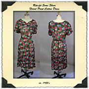1950's Rite-Fit Dress Rose Print Dress