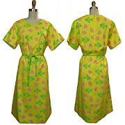 ca. 1980's Vested Gentress Fish and Sea Shell Hand Screen Printed Dress