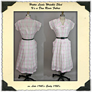 1950's Hattie Leeds Dan River Pink Plaid Shirtwaist Dress