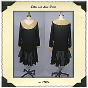 1920's Black Satin Dress with Lace Trim