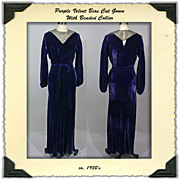 1930's Bias Cut Gown in Purple Velvet