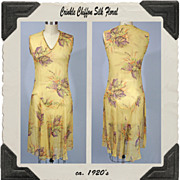 1920's Dress in Floral Print Crinkle Chiffon