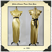 1930s Gold Panne Satin Bias Cut Dress