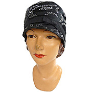 1920s Mayrose Beaded Cloche in Black Silk Satin