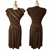1940s Sequin Swing Dress in Brown Rayon Crepe