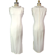 1960's Column Dress in White Rayon Crepe with Beading