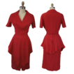 1940's Peplum Dress in Red Pliss
