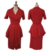 1940's Peplum Dress in Red Pliss�