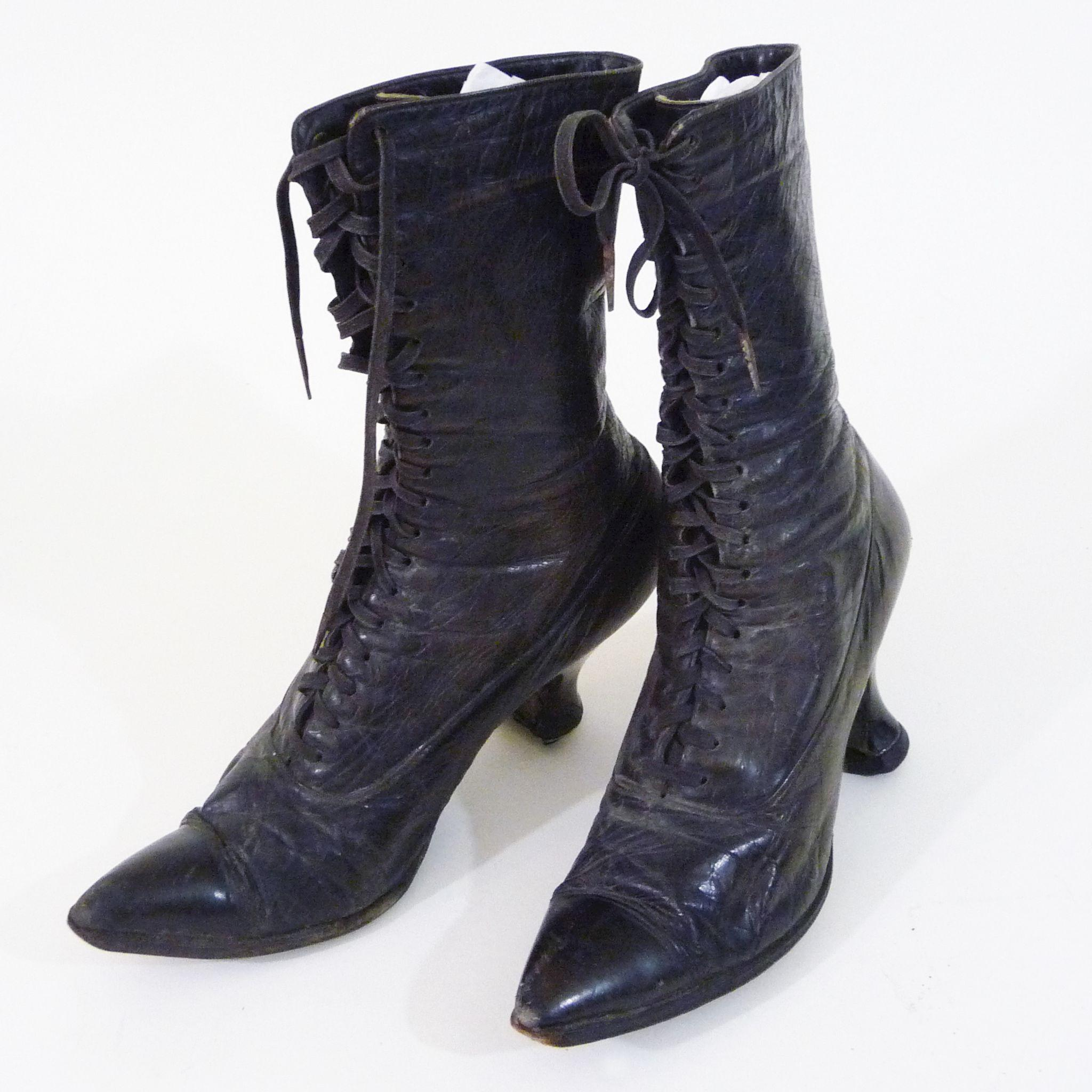 ca. Victorian Black Leather Oxford Style Boots