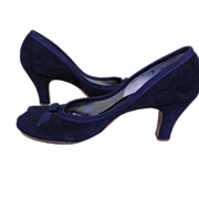 ca. 1950's Tweedies Alluring Footwear Blue Suede Peep Toe Pumps