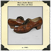 1940's Granny Style Oxford Shoes 9 1/2A