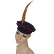 ca. 1940's Navy Checkerboard Beret with Turkey Feather