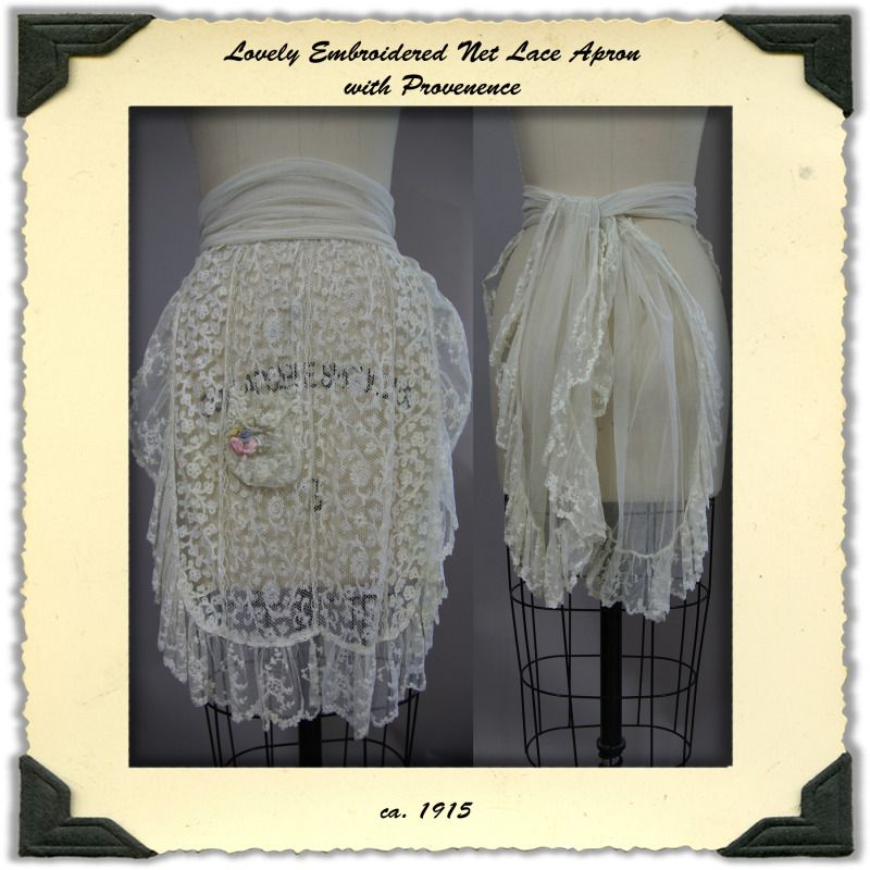 Edwardian Net Lace Embroidered Apron with Provenance
