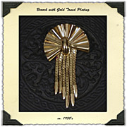 1930's Deco Gold Toned Brass Brooch with Dangles