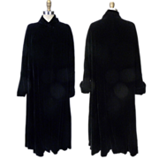SALE 1950s Black Velvet Tent or Swing Coat