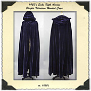 SALE 1950s Saks Fifth Avenue Purple Velvet Cape