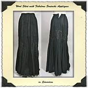 Edwardian Wool Voile Skirt With Silk Trim