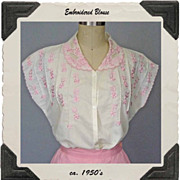 ca. 1950's White Cotton Blend Blouse with Pink Embroidery