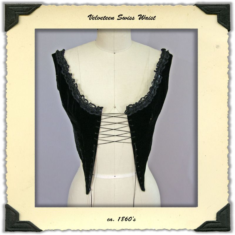 Victorian Swiss Waist or Corselette in Black Velveteen