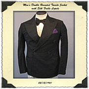 Early 1940s Double Breasted Tuxedo Jacket by English Woolen Mills