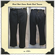 Late Victorian Black Wool Buckle Back Trousers
