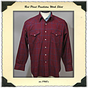 1960s Mens Pendleton Wool Plaid Work Shirt, L