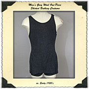 1920's Men's Bathing Suit Skirted One Piece in Wool