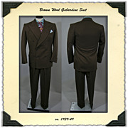 SALE Men's 1940's Double Breasted Brown Gabardine Suit