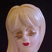 REDUCED Lady Head Vase Gold Colored Eyelashes