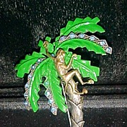 REDUCED Figural Monkey in Enamel & Rhinestone Palm Tree