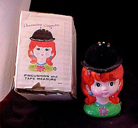 Vintage Pincushion and Tape Measure Charming Coquette