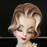 "REDUCED Vintage Lady Head Vase 7"" Napcoware"