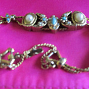 Vintage Delicate Slide Bracelet 5 Slides Goldette