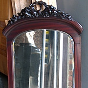 "SALE Antique Victorian 40"" x 27"" Carved Mahogany Frame  Mirror"