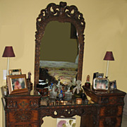 SALE Antique Rococo / Louis XV Walnut Burl Wood Vanity Dresser Mirror & Bench Stool