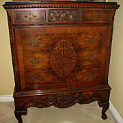 SALE Antique Rococo / Louis XV Walnut Burl Wood Four Drawers Highboy Chest