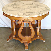 SALE Antique American Rococo Revival 36&quot; Round Marble Top Center / Foyer Table