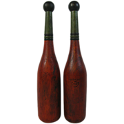 Unusual Shaped Painted Red & Green Indian Clubs