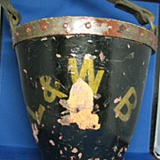 Leather fire bucket early 1800's L&WB Americana at it's finest