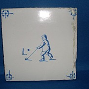 Delft tile deep blue golf theme circa 1880's rare